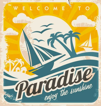 Welcome to tropical paradise vintage poster design  Enjoy the sunshine retro vector illustration