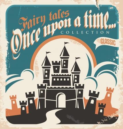 hadas caricatura: Diseño de carteles cuentos de hadas de la vendimia ilustración vectorial Retro castillo
