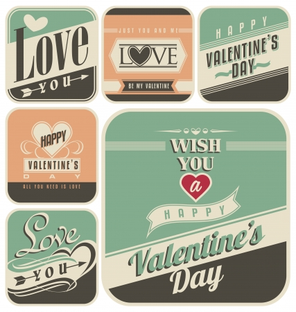 valentine's day: Retro labels for Valentines Day Illustration