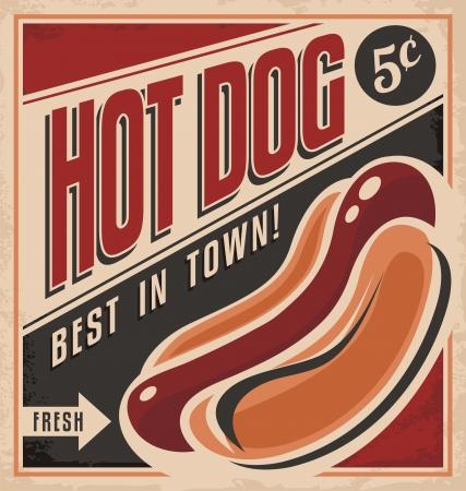 perro caliente: Diseño de carteles de vectores perro retro caliente