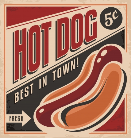 bbq background: Retro hot dog vector poster design