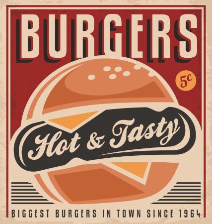 Diseño de carteles retro promocional con caliente, sabroso, delicioso hamburguesa