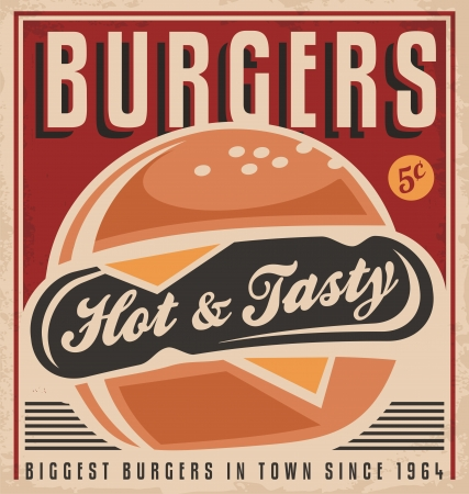 retro design: Promotional retro poster design with hot, tasty, delicious burger