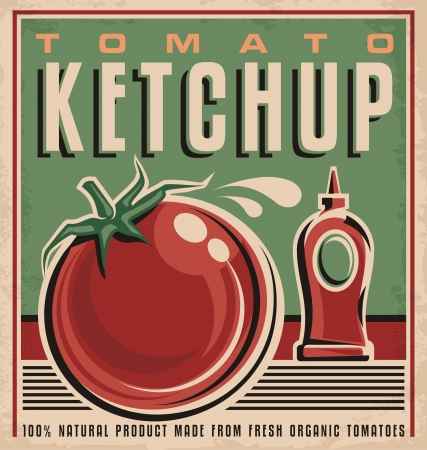 abstract art vegetables: Tomato ketchup retro design concept