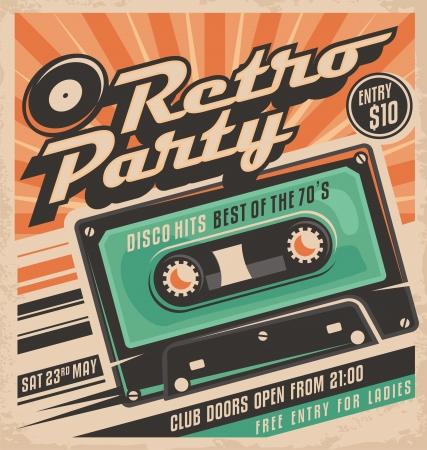 Retro party poster design Çizim