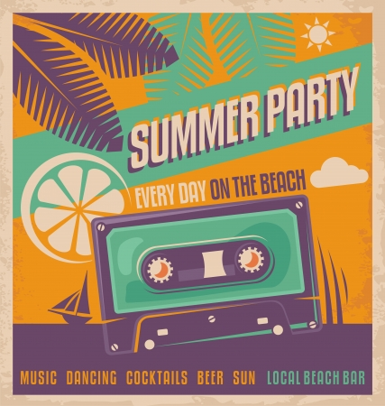 Summer party retro poster vector design Illustration