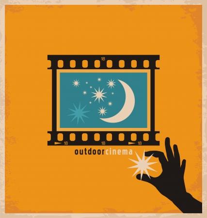 rollo pelicula: Concepto de diseño creativo y único para el cine al aire libre Vectores