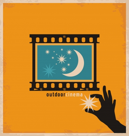 Kreatywny i unikalny projekt koncepcyjny do kina na świeżym powietrzu Ilustracje wektorowe