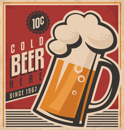 Retro beer vector poster Çizim