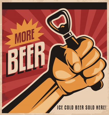 mug of ale: Beer retro poster design with revolution fist