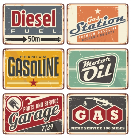 petrol pump: Gas stations and car service vintage tin signs collection Illustration