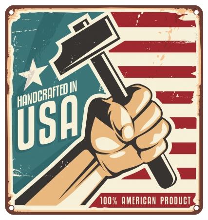 Hecho en EE.UU. muestra del metal retro Vectores