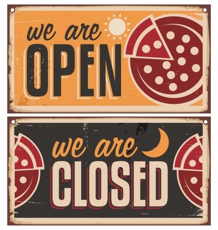 Vintage door signs set for pizzeria or restaurant  Illustration