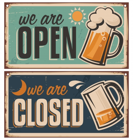 Retro blikken deur tekenen voor cafe of taverne
