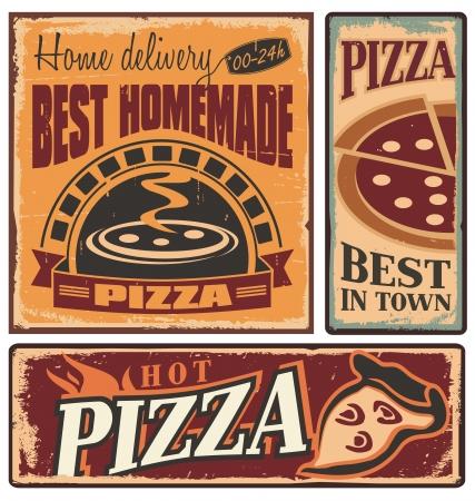 caja de pizza: Muestras del metal retro fijado para pizzer�a o restaurante italiano
