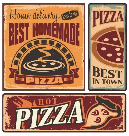 pizza oven: Retro metal signs set for pizzeria or Italian restaurant