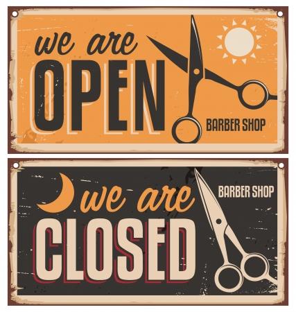 理髪店のレトロなドア標識