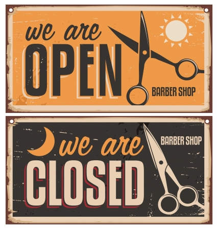 close to: Retro door signs for barber shop