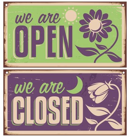 Retro deur borden voor bloemenwinkel of schoonheidssalon