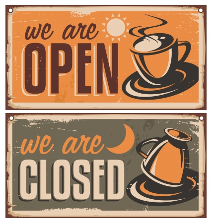 closed door: Retro door signs for coffee shop or cafe bar