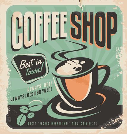 コーヒー ショップのレトロなポスター  イラスト・ベクター素材
