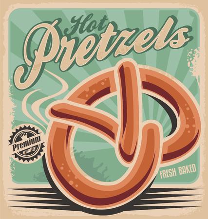 ホット プレッツェル、レトロなポスター デザイン