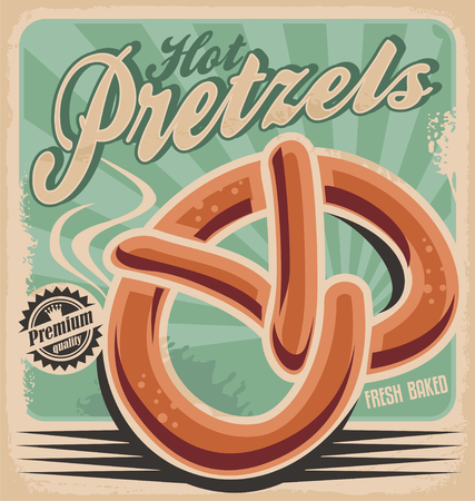 baked goods: Hot pretzels, retro poster design