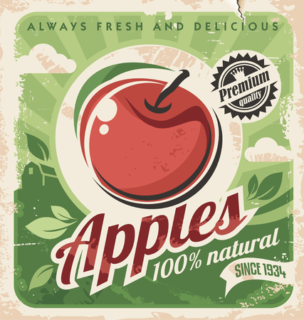 Apple vintage poster design Vector
