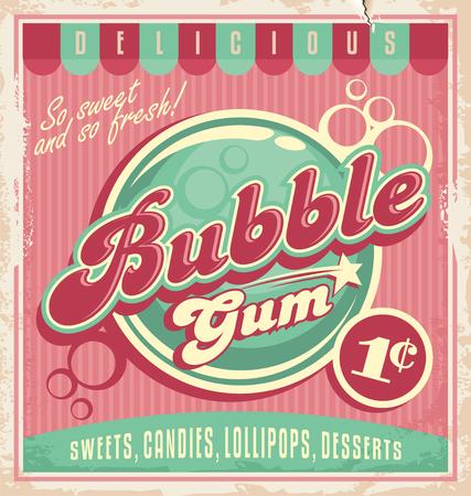 vintage etiket: Vintage poster sjabloon voor kauwgom