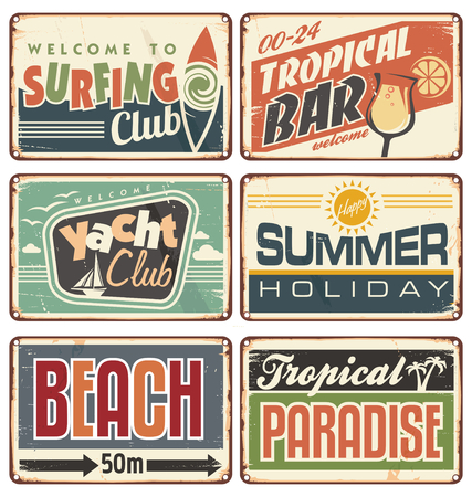 Summer holiday vintage sign boards collection Illustration
