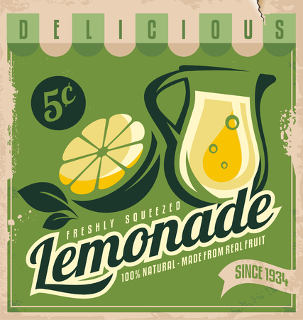 Vintage poster template for lemonade