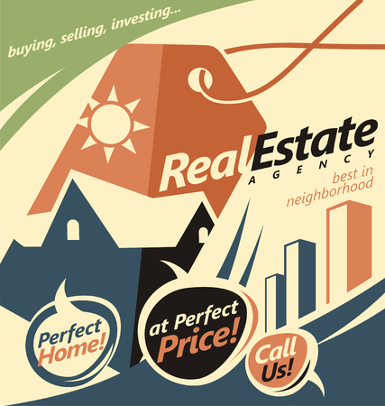 estate: Promotional document template for real estate agent Illustration