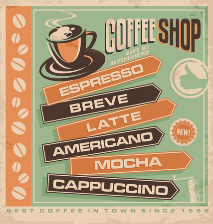 coffee cup icon: Coffee vintage ad template