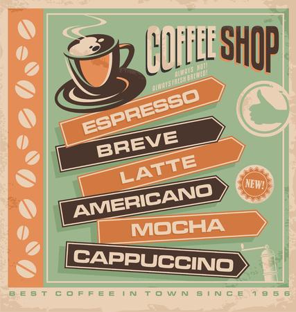 Kaffee Vintage-Anzeigenvorlage Illustration