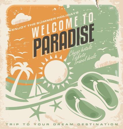 travel card: Summer holiday retro poster design Illustration