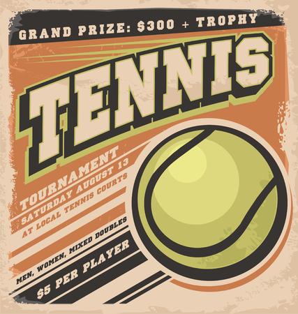 tennis racket: Diseño del cartel retro para el torneo de tenis