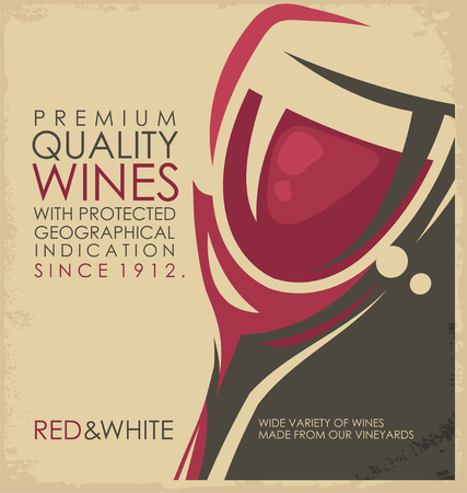 glass with red wine: Vintage poster design with wine glass Illustration