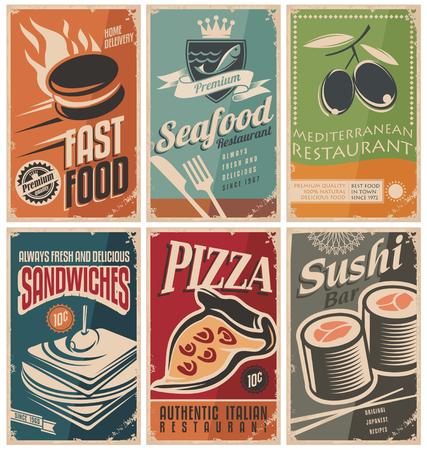 Retro food posters Vector