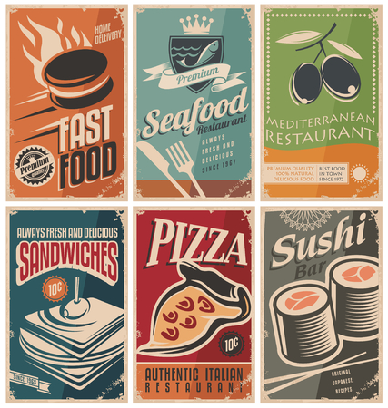 pizzeria label: Retro food posters Illustration