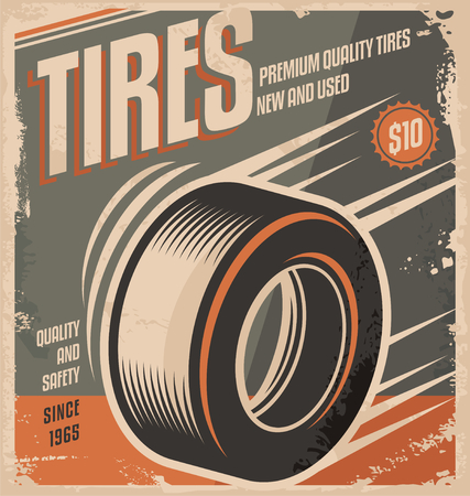 racing sign: Car tires retro poster design creative concept Illustration