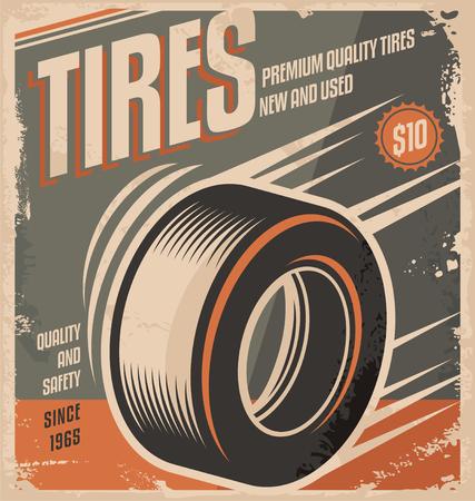 Car tires retro poster design creative concept Illustration