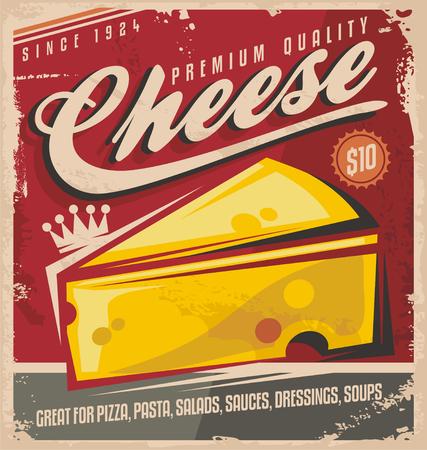 Diseño retro del cartel del queso Foto de archivo - 29899745