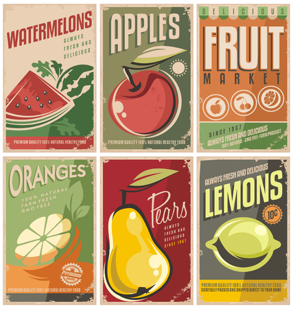 Collection of retro fruit poster designs Çizim