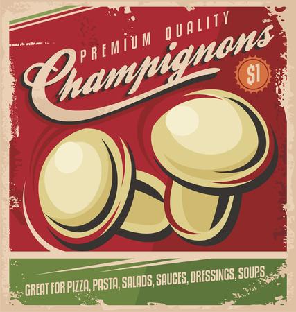 Vintage poster design for premium quality mushrooms Vector