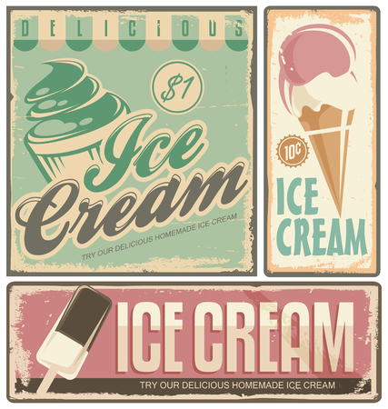 Ice cream vintage metal signs set Vector