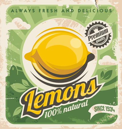 레몬 팜 레트로 포스터 디자인 일러스트