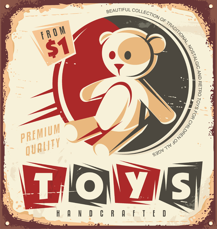 Vintage toy store metal sign design concept Illustration