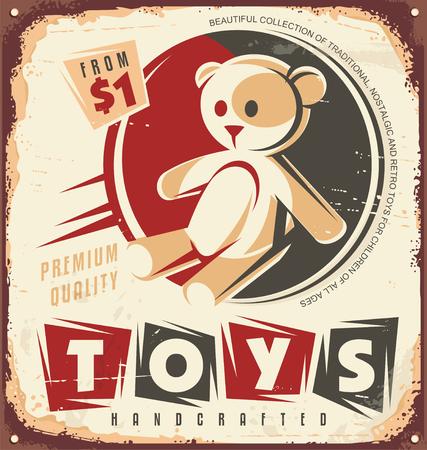 toy shop: Vintage toy store metal sign design concept Illustration