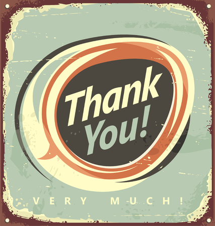 thanx: Thank you  - vintage metal sign.  Illustration