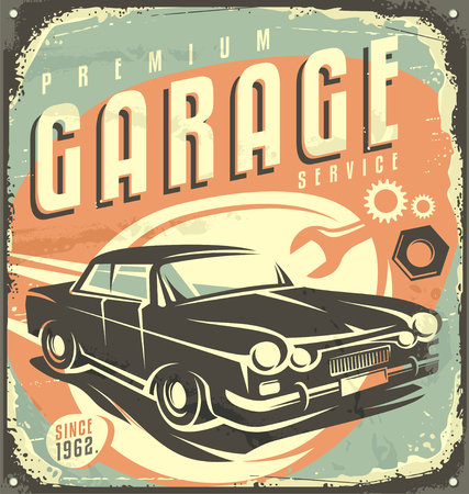 dirty car: Car service - Promotional retro design concept